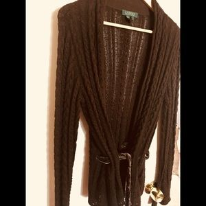 Ralph Lauren Gorgeous Brown Cardigan Velveteen Tie