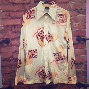 1970s vintage printed men's shirt