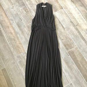 Solid halter neck maxi dress