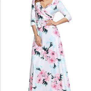 New Wrap Casual Tie Floral Print Maxi Long Dress