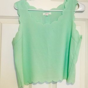 Turquoise scallop edge crop top