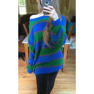 🍂 Vintage Ultra Cozy Blue + Green Striped Knit 🍂
