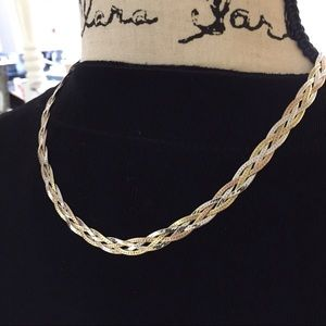 Tri Color Sterling Braided Chain Necklace