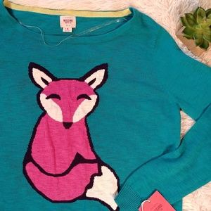 Teal and Pink Fox Sweater Mossimo