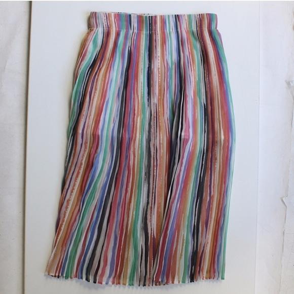 3b8638925a Zara Skirts   Pleat Striped Rainbow Midi Skirt   Poshmark