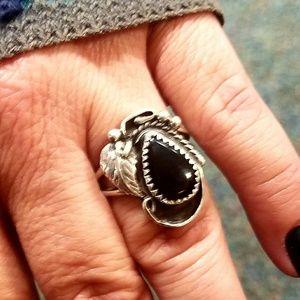 Vintage STERLING & AGATE Ring