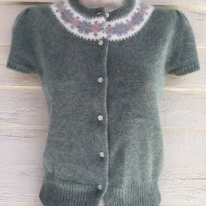 RALPH LAUREN 68%angora green cardigan sweater