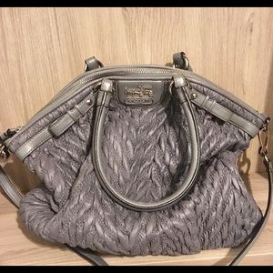Grey Braided Leather Coach Bag