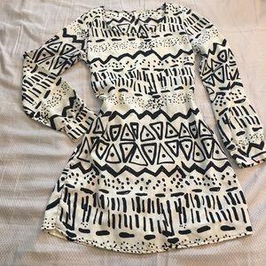 Sage long sleeve open back short dress
