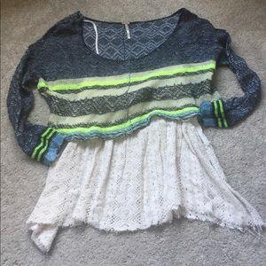 Free People Layered Crochet Sweater 3/4 Sleeve