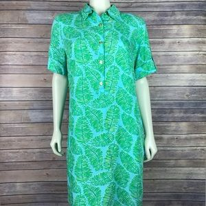 7df2b89a4a163c Lilly Pulitzer Dresses - Lilly Pulitzer Elexa Palm Leaf Print Shirt Dress