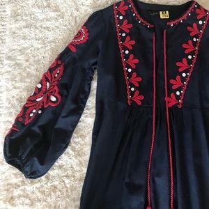 Zara Dress. Bohemian Embroidery. Navy. Size S