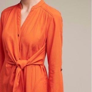 Maeve Bright Orange Tie Front Shirt Dress