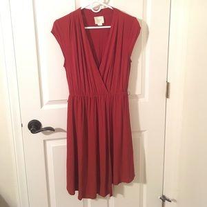 Maeve rust orange/brown faux wrap dress.