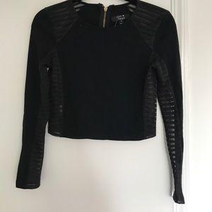 Black Solid & Sheer Crop Top