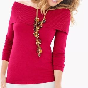 Fold over sweater Chicos size 0/Small NWT