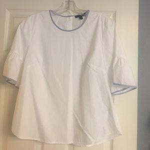 White short sleeve J Crew cotton blouse size 8
