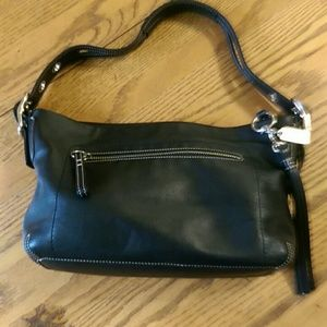 Black genuine leather Coach bag