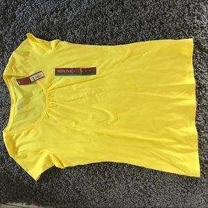 Bright yellow pucker front T shirt. New with tags!