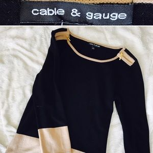 Cable and Gauge Oversized Boat Neck Tunic Sweater
