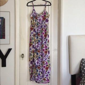 💜 Neon purple floral maxi dress w/ slit Size M 💜