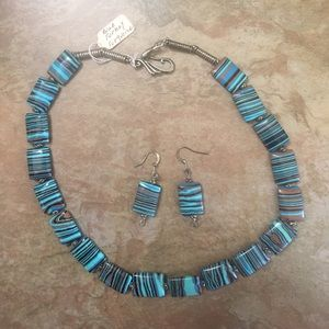 Real Blue Turkey Turquoise Earrings & Necklace Set