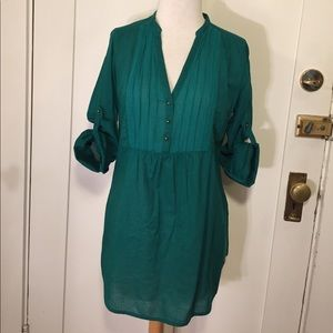 Zara Trafaluc Emerald green tunic blouse