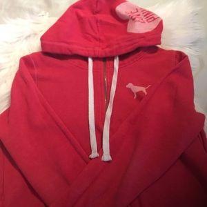 PINK Zip Up Hooded Love Pink Sweatshirt
