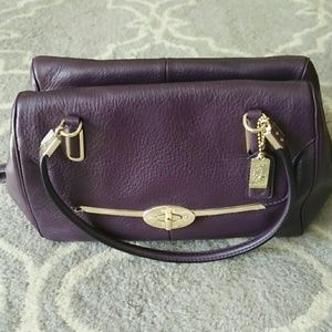 Coach pebbled leather plum handbag
