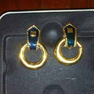 Black & Gold Clip On Hoop Earrings