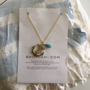 Gold & turquoise anchor necklace- fashion jewelry.
