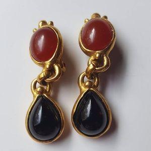 Onyx &carnelian clip-on drop earrings