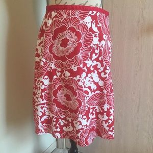 Red & White Floral Cotton/Spandex Skirt