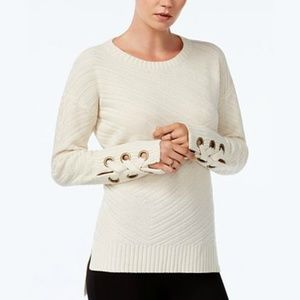 Sweaters - NEW High-Low Grommet-Detail Sweater