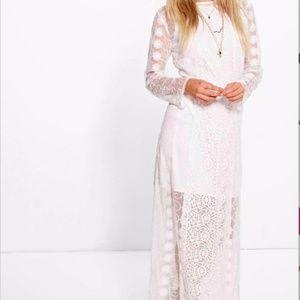 White Crochet Lace Panel Maxi Dress Sz 6