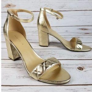 Gold shoes Block heel Sandals Ankle Strap