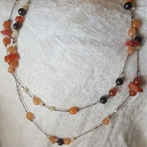 Carnelian,  agate,  citrine and sunstone necklace