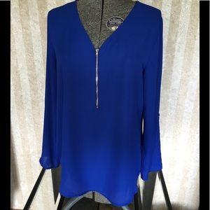 Electric blue zip front top