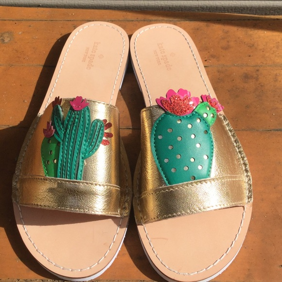 ca51b9c6d20d NWT Kate Spade Iguana Gold Cactus Slide Sandals