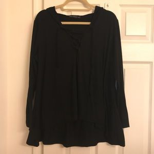 Size L (12-14)* Black Lace Up Long Sleeve Hoodie