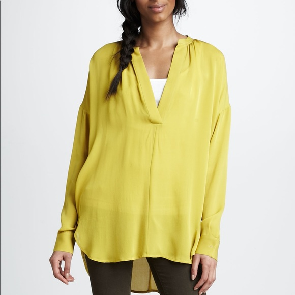 f003e4a341b51 Vince. • Citrine yellow silk shirred top. M 59eb85944e95a369a40449b7