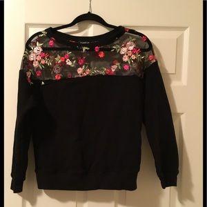 Bebe embroidered yoke sweatshirt