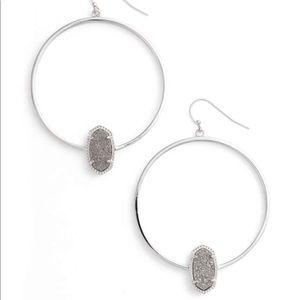 Elora Hoop Earrings Silver with Silver Drusy
