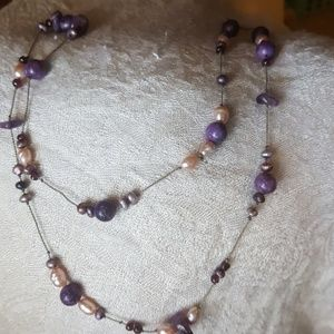 Jewelry - Garnet, pearl, amethyst and lepidolite necklace