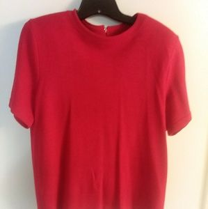 St John's red short sleeve sweater