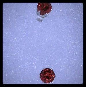 1.5CT Brilliant Red Cut Garnet Stud Earrings