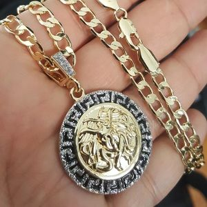 Luxury Gold Medusa Pendant Cuban Link Chain NEW