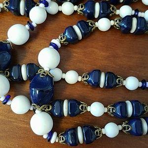Mariam Haskell three-strand blue and white Gla