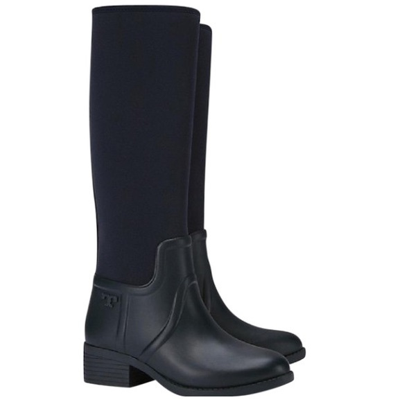 388d5a80199b NWT Tory Burch April Rain Tall Rubber Winter boots