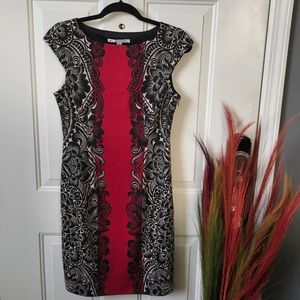 Red, Black & Cream Dress